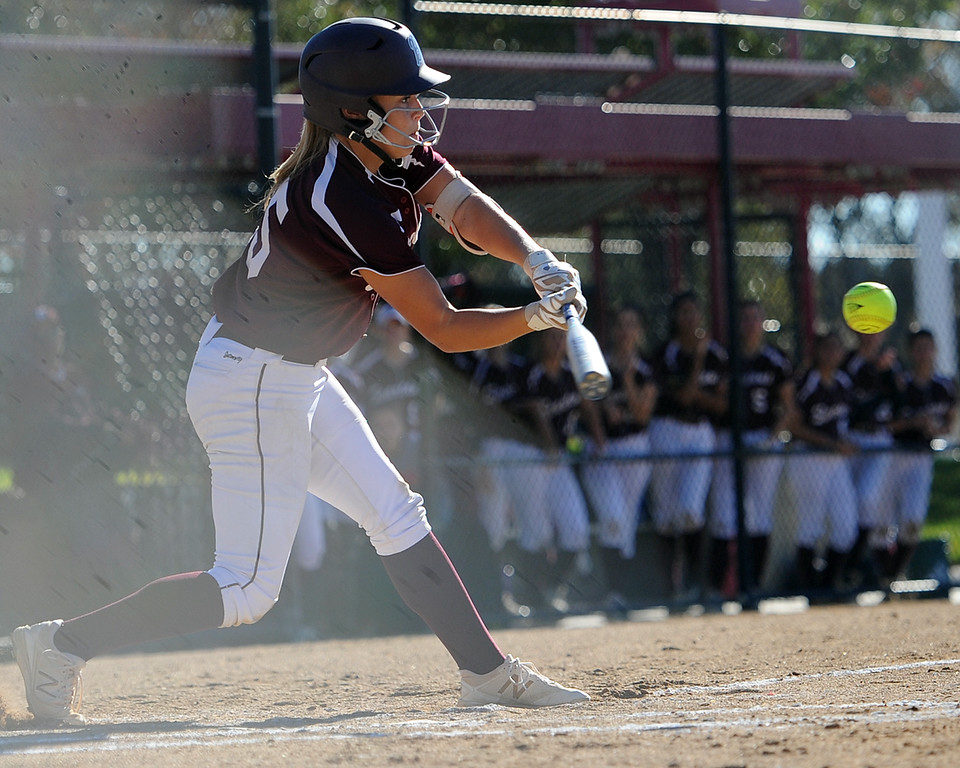 . Berthoud\'s Addi Spears swings during the first day of the 4A state softball tournament on Friday, Oct. 19, 2018 at Aurora Sports Park. (Sean Star/Loveland Reporter-Herald)