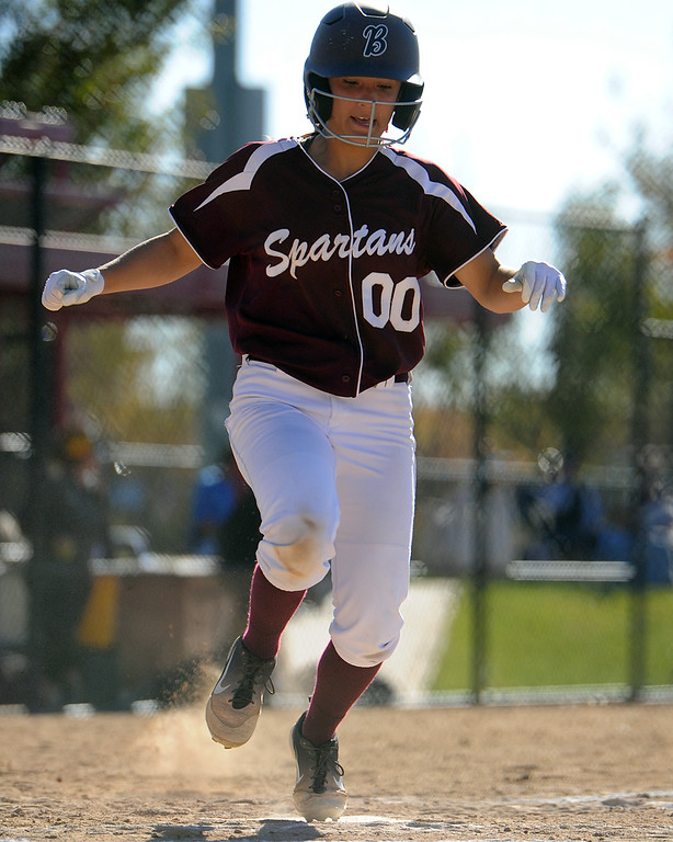 . Berthoud\'s Margaret Langer scores during the first day of the 4A state softball tournament on Friday, Oct. 19, 2018 at Aurora Sports Park. (Sean Star/Loveland Reporter-Herald)