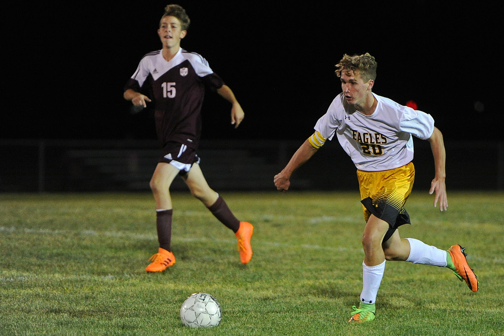 . Thompson Valley\'s Logan Brian dribbles up field during a game Thursday, Sept. 20, 2018 at Berthoud High School. (Sean Star/Loveland Reporter-Herald)