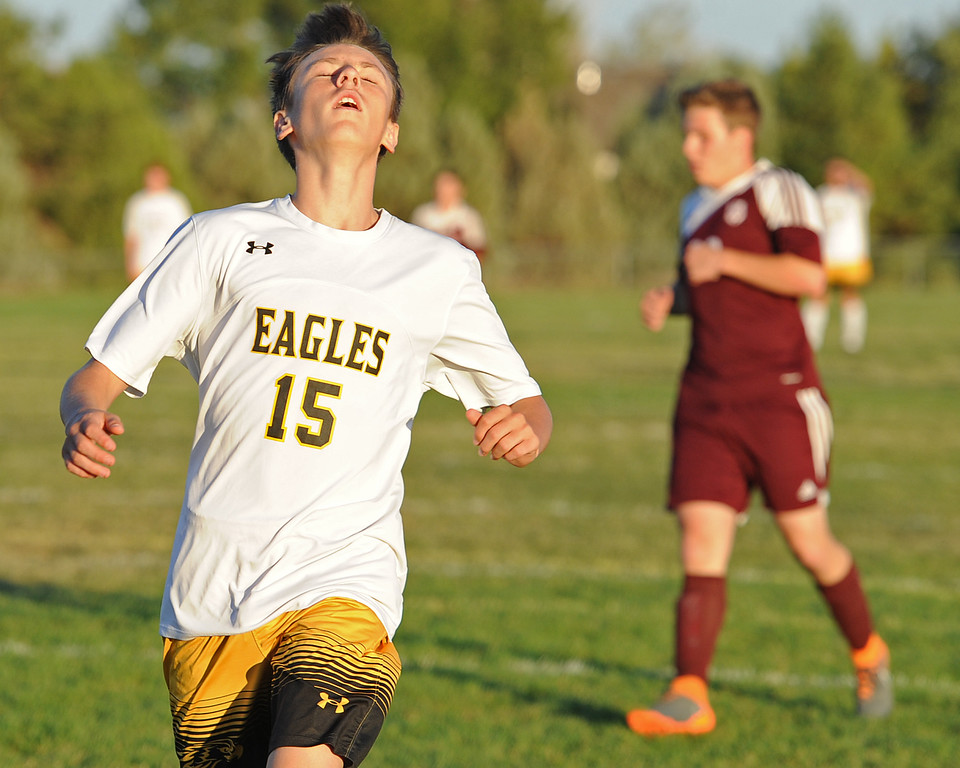 . Thompson Valley\'s Isaac Levin throws his head back in disappointment after missing a chance to score during a game Thursday, Sept. 20, 2018 at Berthoud High School. (Sean Star/Loveland Reporter-Herald)