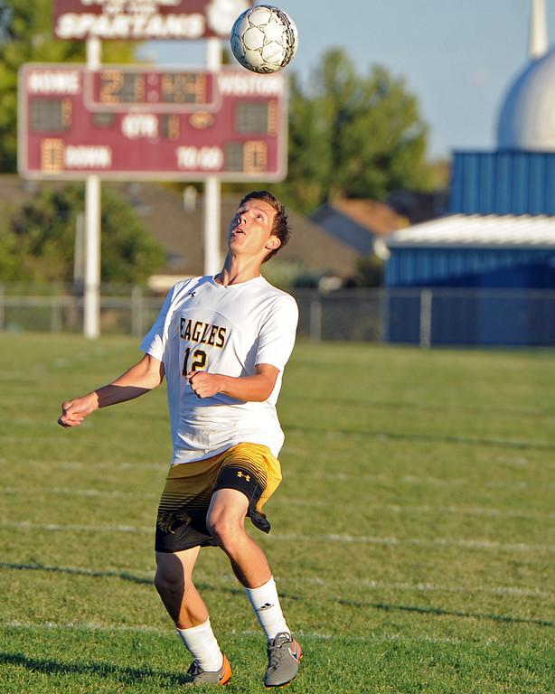 . Thompson Valley\'s Benjamin Lane controls a free ball during a game Thursday, Sept. 20, 2018 at Berthoud High School. (Sean Star/Loveland Reporter-Herald)