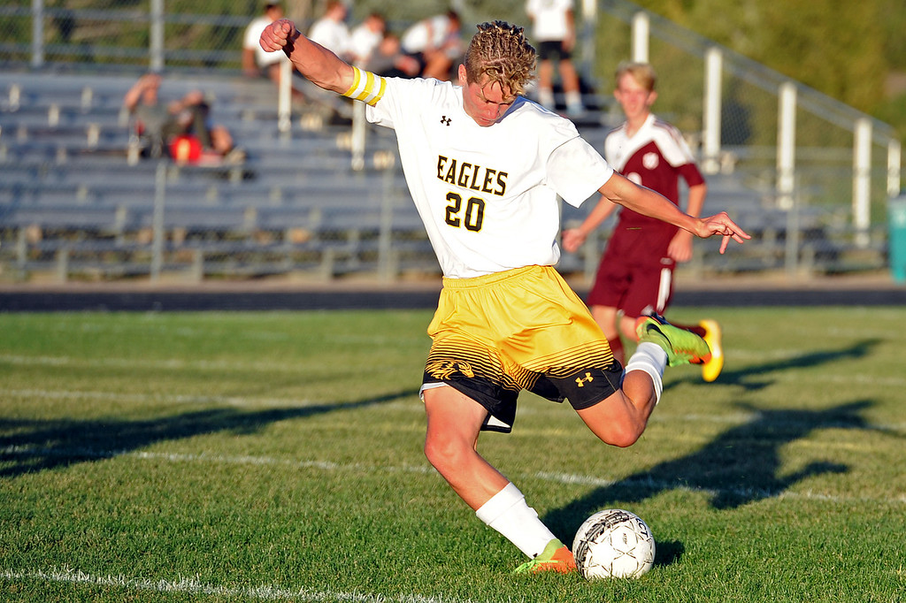 . Thompson Valley\'s Logan Brian takes a shot on goal during a game Thursday, Sept. 20, 2018 at Berthoud High School. (Sean Star/Loveland Reporter-Herald)