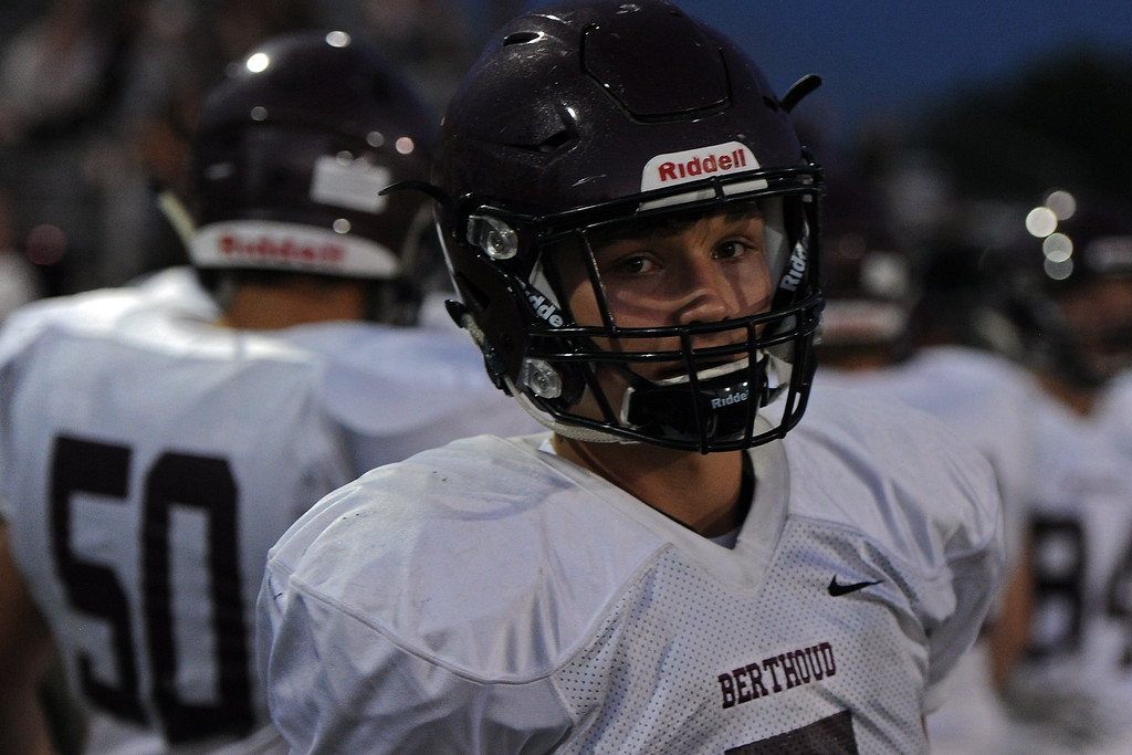 . Berthoud\'s Nate Garcia waits on the sideline during a game Friday, Sept. 14, 2018 at Patterson Stadium in Loveland, Colorado. (Sean Star/Loveland Reporter-Herald)