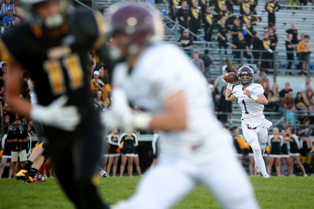 . The Berthoud Spartan�s (1) Jacob Lozinski, looks for an opening in their match agaisnt Thompson Valley High School at Patterson Stadium in Loveland on Sept. 14, 2018.(Photo by Taelyn Livingston/ Loveland Reporter-Herald)