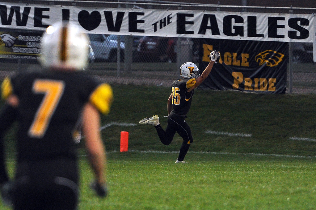 . Thompson Valley\'s Trey Kreikemeier scores a touchdown during a game Friday, Sept. 14, 2018 at Patterson Stadium in Loveland, Colorado. (Sean Star/Loveland Reporter-Herald)