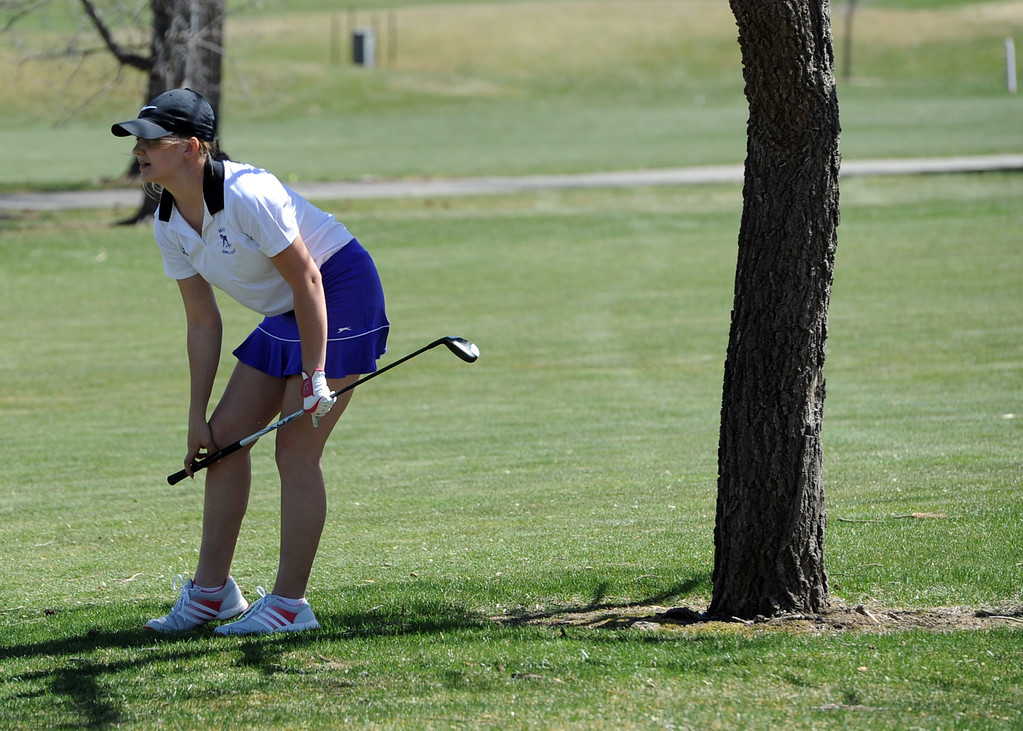 . Mountain View\'s Aly Buckner watches her approach during the Loveland Invitational on Wednesday, April 11, 2018 at the Olde Course at Loveland. (Sean Star/Loveland Reporter-Herald)