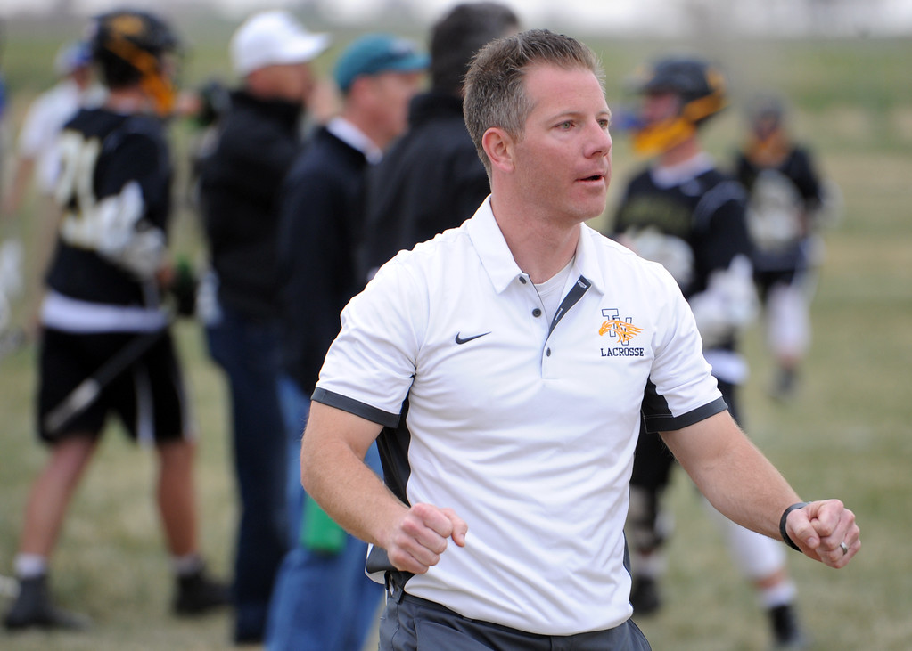 . Thompson Valley coach Will Cantwell celebrates a goal during a game on Thursday, April 19, 2018 at Dawson School in Lafayette, Colorado. (Sean Star/Loveland Reporter-Herald)
