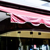 red awning after the rain
