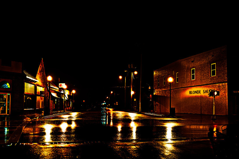 Night time street scene from Homewood, Alabama, in the rain. When I shoot at night I always think of John Bennett. John is a master at this type of photography.
