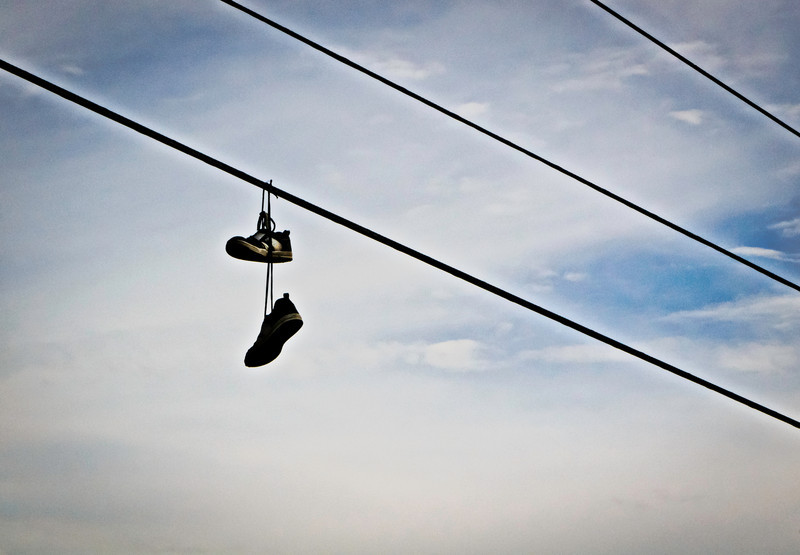 hanging by the laces
