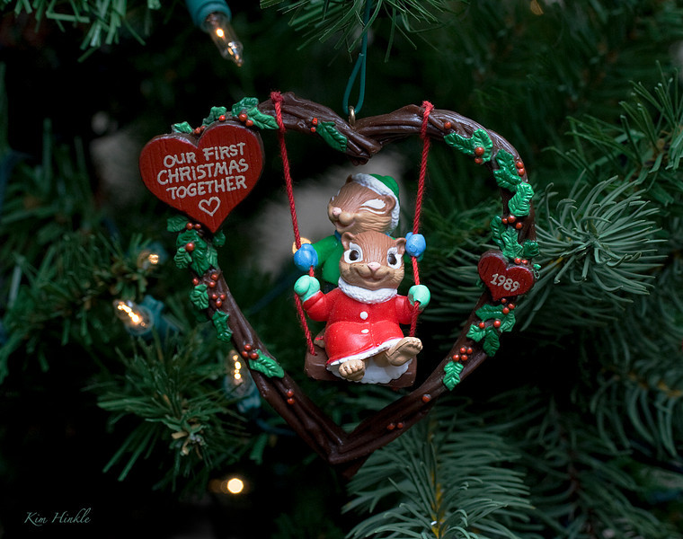 12/24/08<br /> <br /> CHIPMUNK LOVE<br /> <br /> Although our first Christmas together was in 1999 ..(.Bob and I were married in 2001.)  I bought this ornament as a collectible because it is so sweet.  Look at the joy on the their faces, especially the boy in the back..he has his eyes closed with delight!<br /> <br /> So many ornaments, so little time...next year there will be more.  Tomorrow I will post the whole tree.  Since most of you will be busy with your families all day, and may not be on SM tomorrow, let me wish you a Merry Christmas now...I hope you have a warm and happy and spiritual day....Mom4