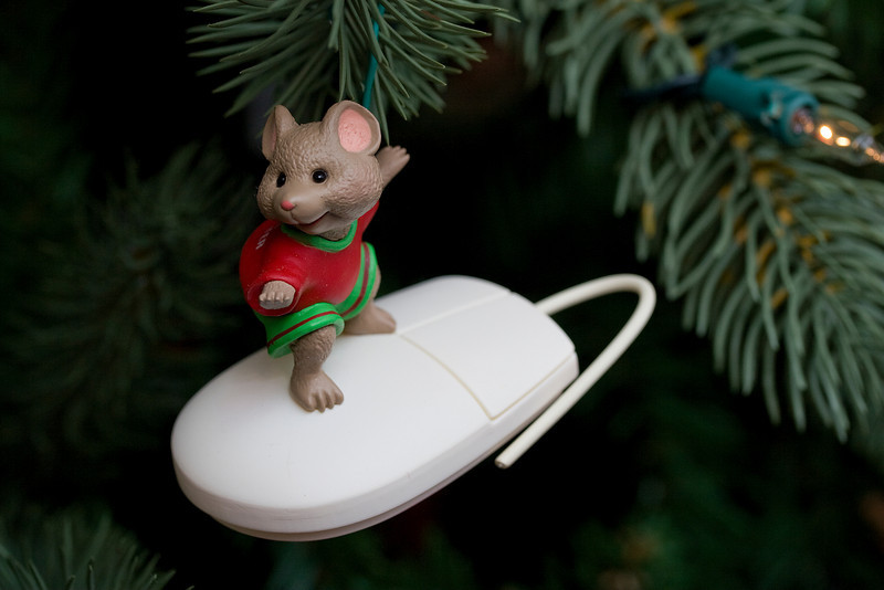 12/19/08<br /> <br /> SURFING MOUSE<br /> <br /> Interfaith marriages have their advantages, like celebrating a wide range of holidays...including Christmas decorating!  I began collecting squirrels and mice and little beavers while Bob and I were dating.  Over the past 8 years I have about 150 Hallmark ornaments ranging from about 50 years ago...and all critters.  We bought a new tree this year so I can get them all on their branches...the cute guys bring us a lot of joy at this time of the year...more to come.