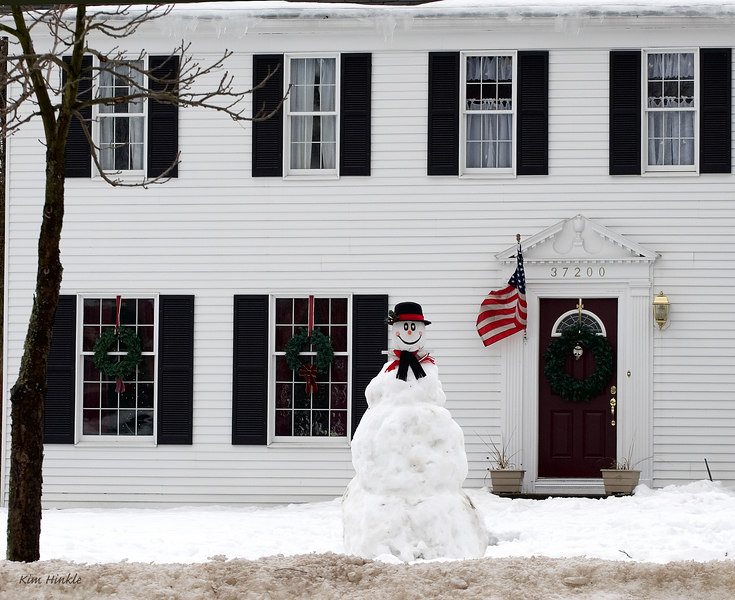 February 25th<br /> <br /> HE'S BACK....<br /> <br /> All this snow and ice lately enticed Frosty to visit our neighborhood!  The kids down the street built this cute guy, who is complete with a back pack made of snow!