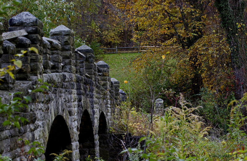 October 25th<br /> <br /> Bridge in the Park<br /> <br /> Stretching across Wolf Creek in the Cleveland Metroparks, Garfield Reservation, stands this 1898 stone foot bridge designed by Fredrick Law Olmsted. This beautiful sandstone landmark in Garfield Heights, Ohio (named for President Garfield,) was locally cut just for this bridge and has endured floods and draughts for 109 years! A walk across the bridge gives you a views of the winding creek and leads one to a picnic area in the shade of the trees at the top of the hill.