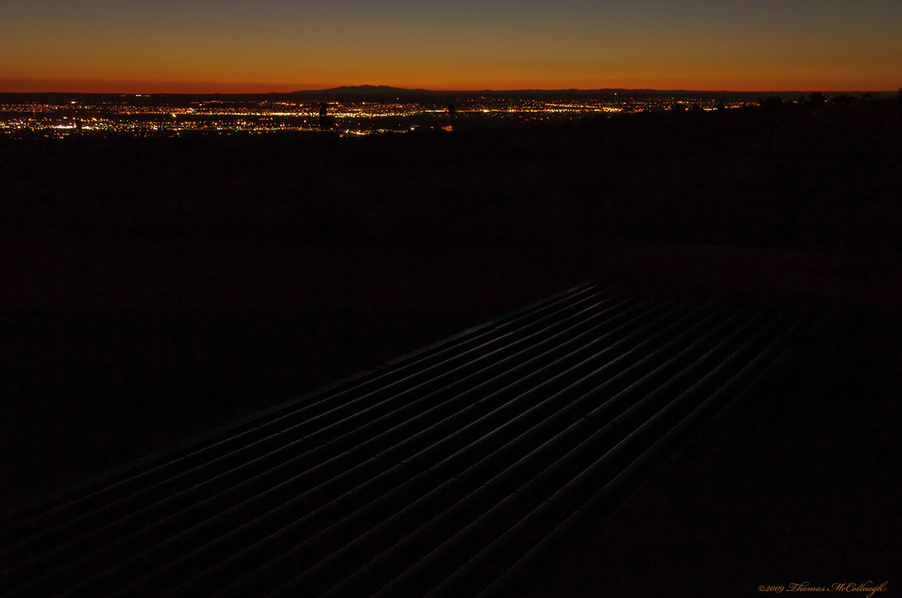 The Cattle Guard. (Can you see it?)<br /> Looking west over Albuquerque, NM in the evening hour.