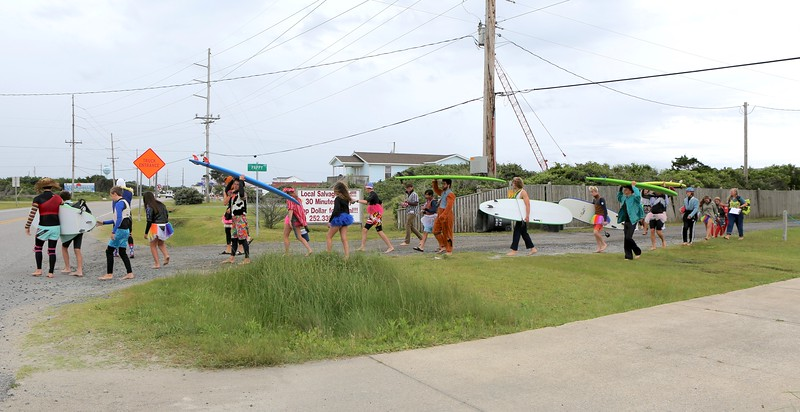 That's one funky looking bunch of folks heading to the beach.