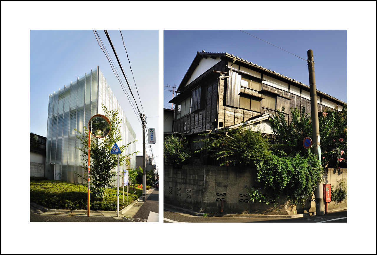 Day 325 Monday, August 23<br /> I love how the old and new are so intermingled in Tokyo. These two houses are on the same street just one block apart. I pass them every time I go to Nozawa to go grocery shopping or to see Baba.