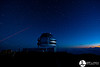 Observatory and sunrise from the top of Mauna Kea.