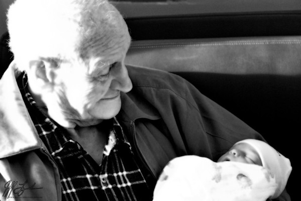 2009 11-21 As expected, my dailies have taken on a whole new meaning.  This shot is of my grandfather (baby's great grandfather) and my daughter on her second day of life.  These are two of the most beloved people in my life, and having them spend some quality time together meant more than I can express in words.