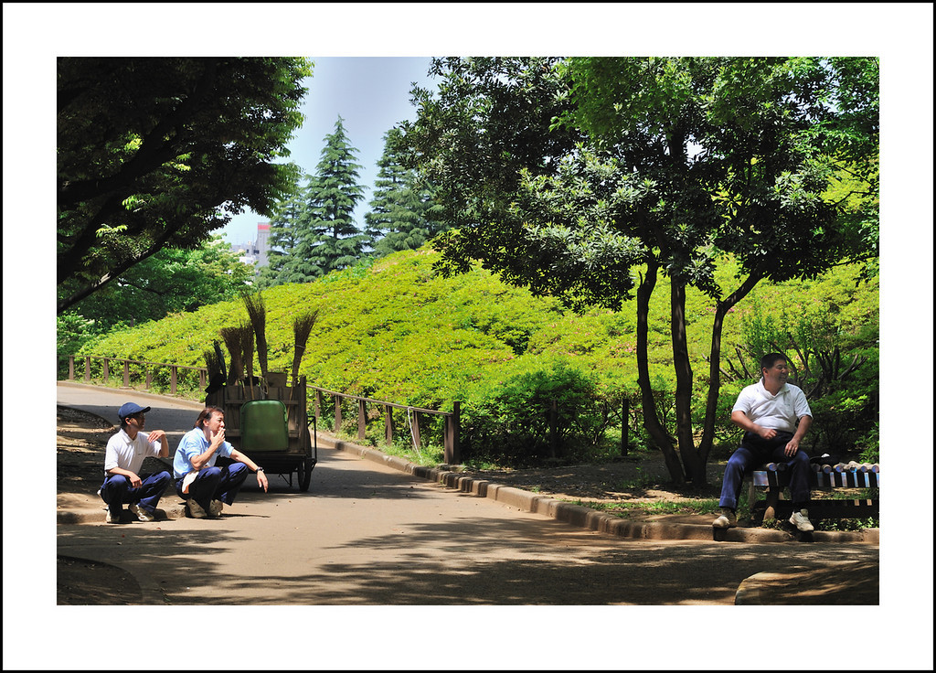 Day 138 May 18. Today I took Baba by bus to Setagaya Park. It is easy walking distance for me, but not for her. It was a nice change of scenery and beautiful weather. Here I captured the cleaning crew taking a short break.