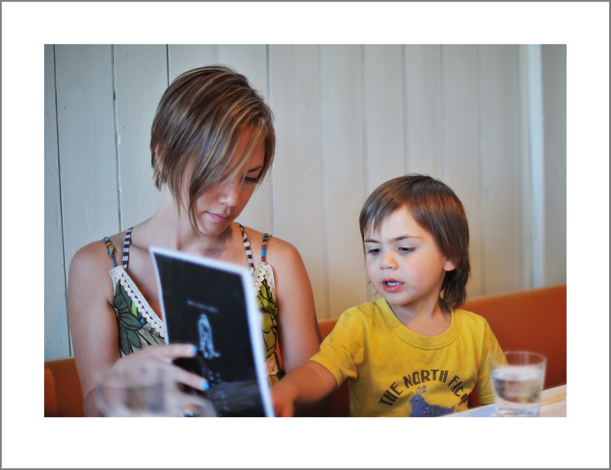 Day 129 Mother's day. Emiko's family took Seishi and I out for dinner to a lamb restaurant. (My favorite) Here, Montana is helping to choose our dinner from the menu.