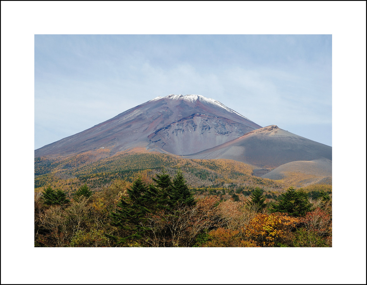 Day 306 Tuesday, November 2<br />  We left Monday evening for Hakone.  On tuesday we drove to the 5th station of Mt. Fuji and walked from there to the 6th station.  The trail was closed from there.  If you look closely, the small white building to the left of the crater marks the 6th station.