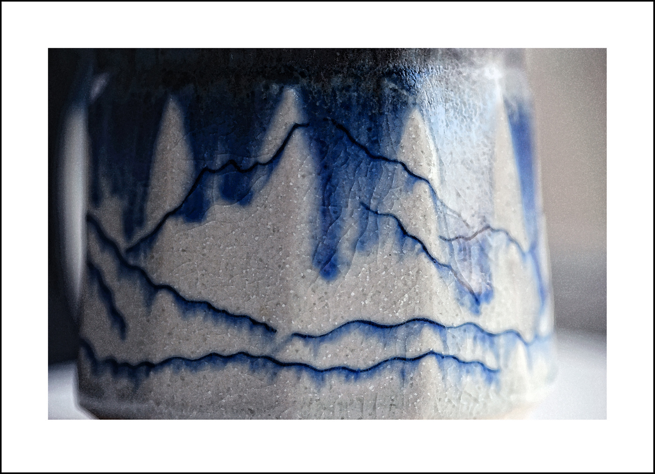 Day 323 Friday, November 19<br /> It was a busy day today with lots of errands. I didn't take my camera out, but did get this detail of the mug I purchased on the North Cascade highway last summer.  It is Mishimayaki where the paint is embedded directly into the clay before firing in a wood burning kiln.