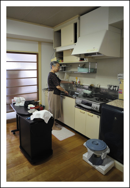 Day 280  Thursday, October 7<br /> I spent the day with Tomoko San helping her organize closet space.  This is a quick snap of her in her new apartment.