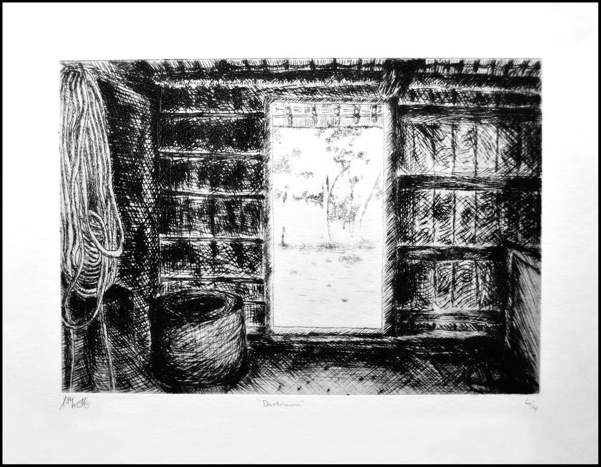 Day 278 Tuesday October 5<br /> Maybe October will be my artwork month. This is a picture of the interior of a Japanese farm house drawn by Raymen when he was in high school. It hangs on our living room wall.