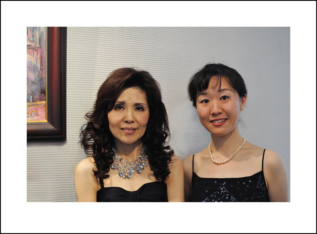 365/114 April 24. My husband's cousin, Atsuko Takeno, is a professional soprano. We attended her concert this afternoon. Of course I couldn't take photos during the performance, but was able to take this one afterward. She is with Naoko Sugiyama, who accompanied her on the piano.
