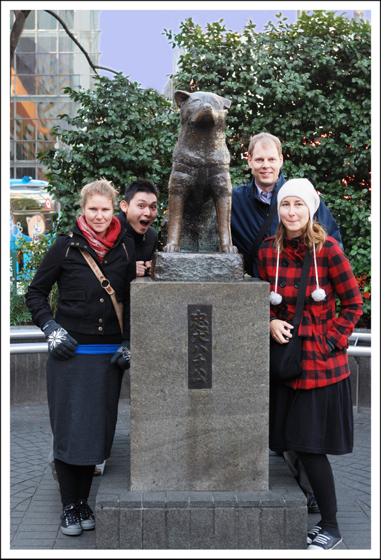 Lynn and Julie stayed the night on Saturday, Sunday and Monday. They were on the last leg of an 11 month world trip. We toured Shibuya and Harajuku with Dan and Yuzo San on Monday.  The dog is a statue of faithful Hachiko who came to Shibuya station every evening to meet his master on the way home.