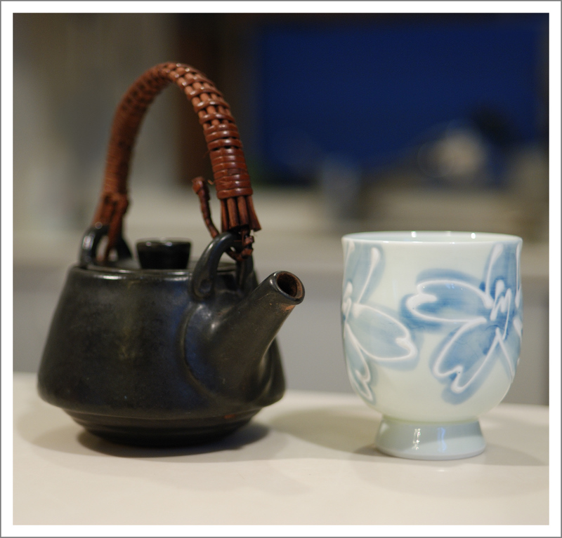 February 7.  Just a cup of green tea from a well loved, well used tea pot.