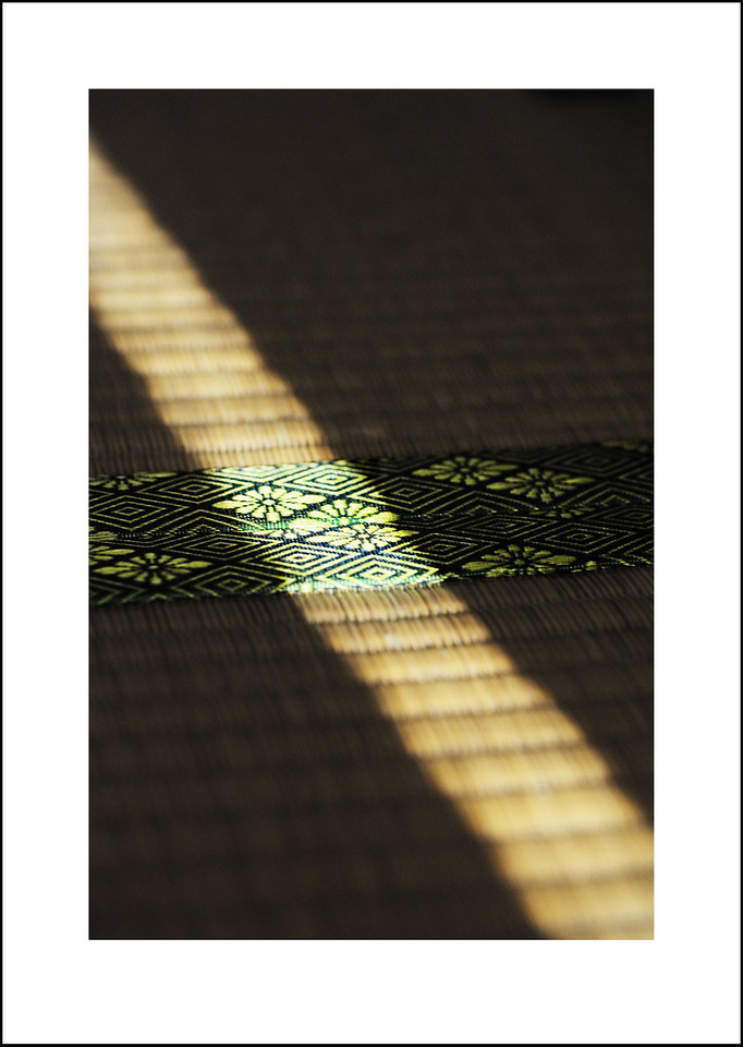 Day 175  June 24<br /> Our living room window faces NW and in June when the sun moves farthest north a strip of light from between the blinds reaches all the way into the Japanese tatami room.