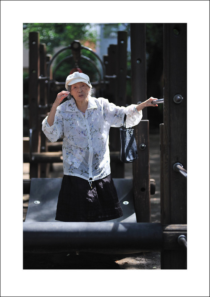 Day 166. June 15. Baba, Seishi's mom is in a nursing home because of dementia, but she loves to be out doors. I enjoy her uninhibited spirit. Today we made the rounds of 2 different parks, and she tried out the jumping bridge.