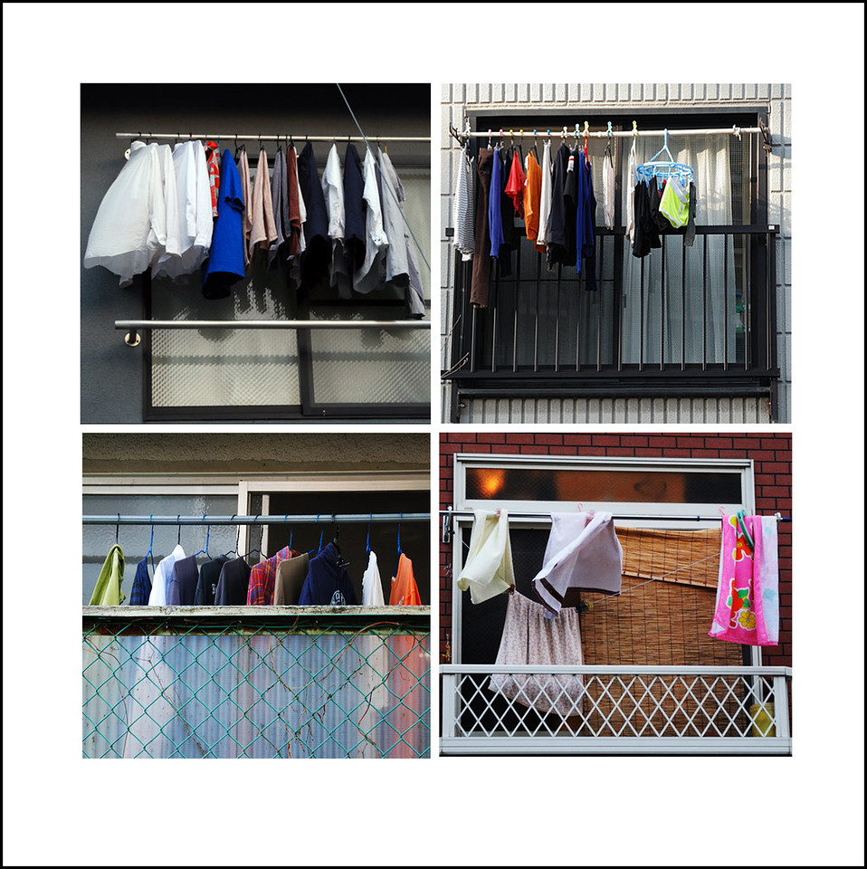 365/73  One of the things I enjoy a lot in Tokyo is all the colorful laundry that is hung out on nice days.  On Sunday afternoon I took a tour of my neighborhood capturing laundry scenes.  Of the 12 shots I took, I chose 4 and put them together into this mini collage.