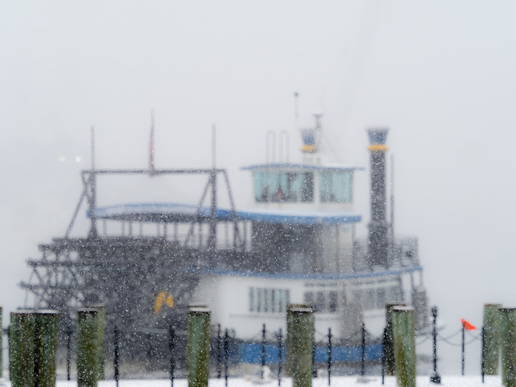 Ferry through the snow