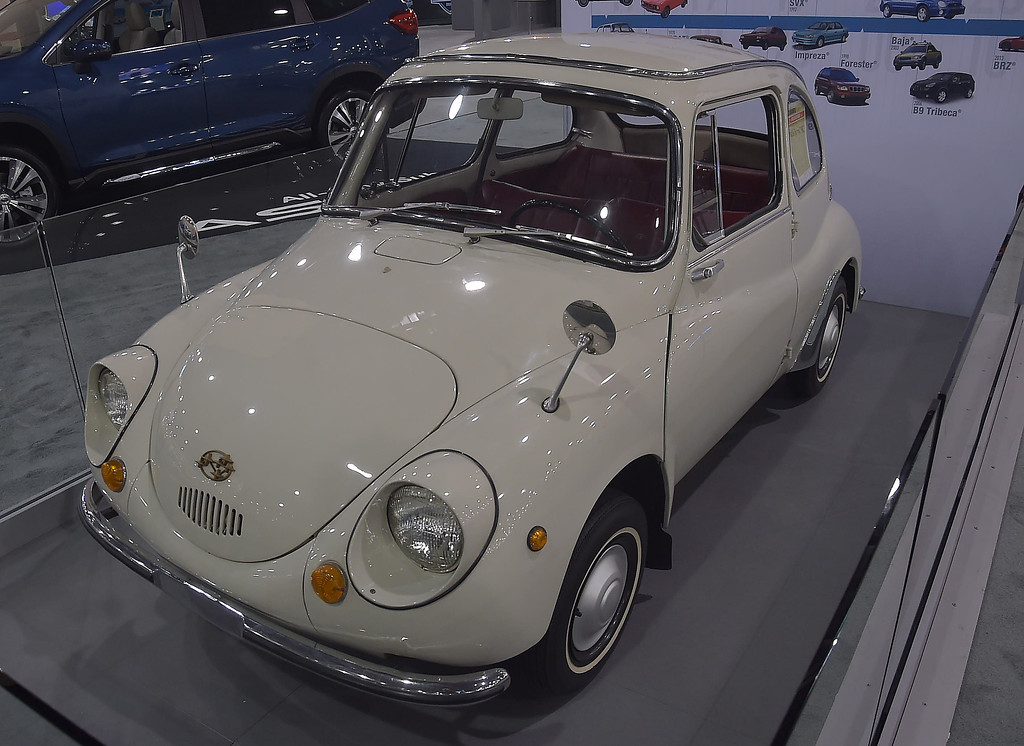 . This 1968 Subaru 360 was built from 1958 to 1971. It weighs 850 pounds with  a engine mounted in the rear. It was the first Subaru sold in the United States.