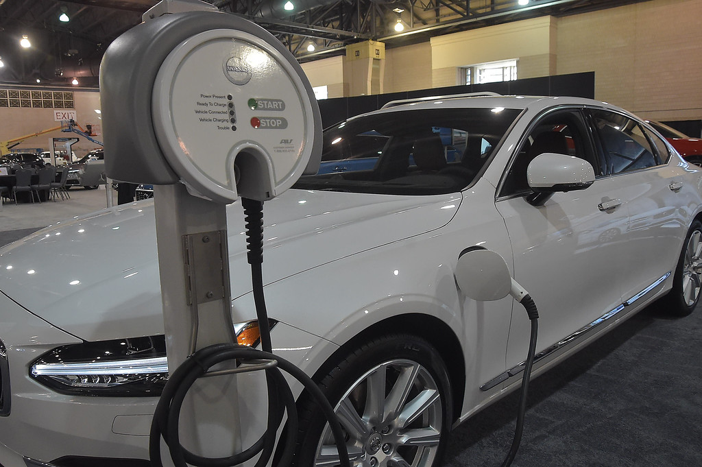 . One of many hybrid cars on display, theVolvo S90 T8 plug-in hybrid.
