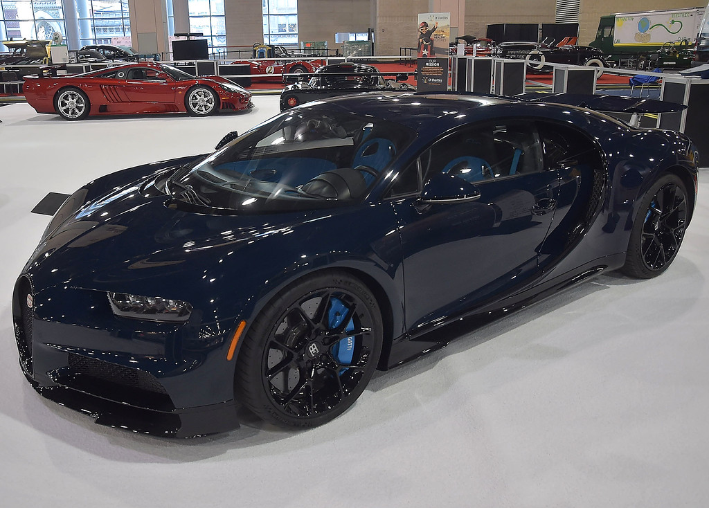 . THis 2018 Bugatti Chiron has a top speed of 270 mph from a 8. liter W16 Quad turbo and a 7-speed transmission going 0-60 in 2.4 seconds part of the CF Charities Super Car show display.