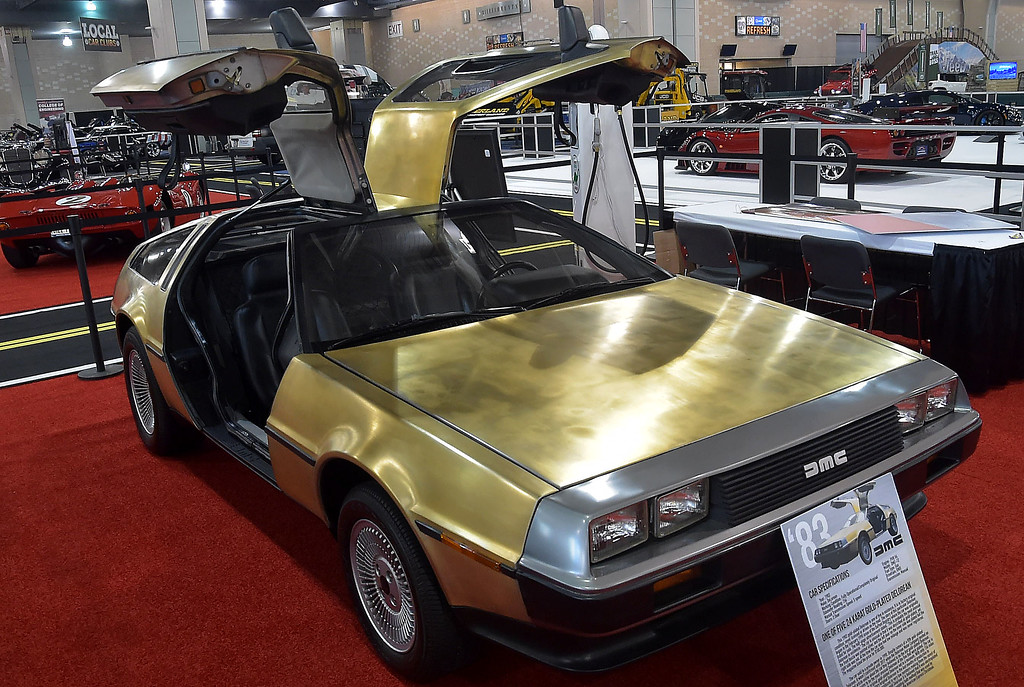 . A  gold-plated 1983 DeLorean has never been driven on the road. It is one of five with the 24 Karat gold.