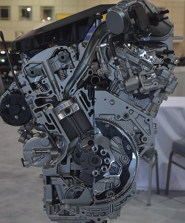 . A cutaway of a Buick V6 VVT engine.