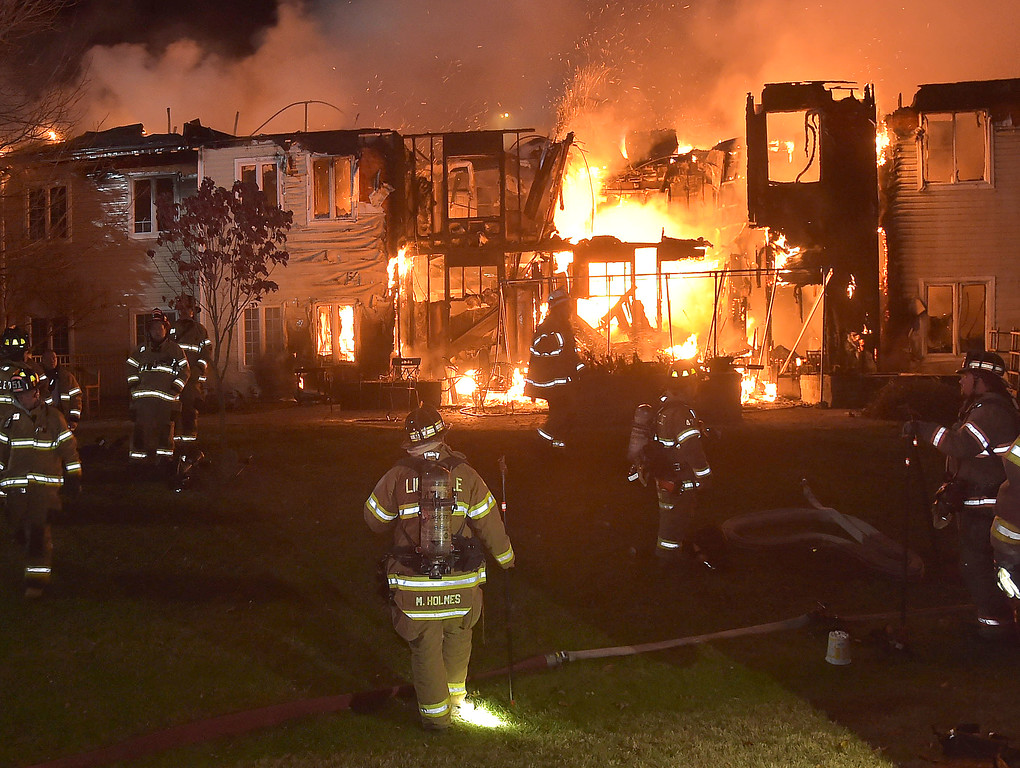 . PETE BANNAN-DIGITAL FIRST MEDIA   	Fire engulfs the  rear of the Barclay Friends Home in a horrific fire late Thursday evening. Hundreds of residents were evacuated from after an explosion and fire destroyed the home.