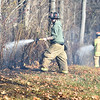 PETE  BANNAN-DIGITAL FIRST MEDIA    <br /> Firefighters extinguish a brush fire on Park Ave.in E. Fallowfield Township. Westwood Battalion chief John Sly said the fire covered approximately 2 1/2 acres.   It took crews from Westwood, Cochranville, Wagontown and Po-Mar-Lin ftwo hours to bring the fire under control and extinguish hotspots.