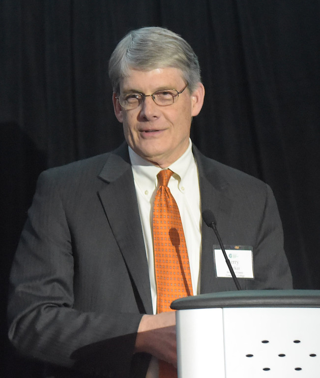. PETE  BANNAN-DIGITAL FIRST MEDIA       Dr. Jerry Parker, president of Delaware County Community College speaks after he was inducted into the Chester County Business Hall of Fame at the council�s Business Achievement Award Dinner on March 30 at the Phoenixville Foundry.