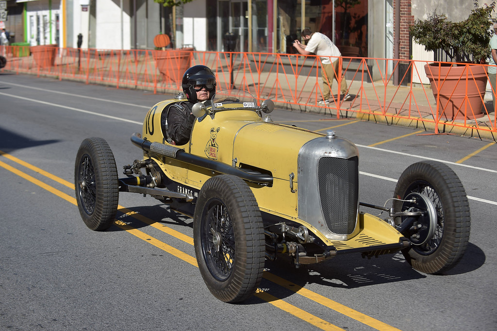 . PETE  BANNAN-DIGITAL FIRST MEDIA    David George of Doe Run drives his 1936 twin cam four cylinder opened wheeled Indy champ car out of the pits during the second Annual Coatesville Invitational Vintage Grand Prix Saturday Sept.23, 2017. Over 50 cars took part in  the day long timed races.