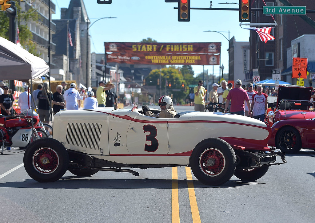 . PETE  BANNAN-DIGITAL FIRST MEDIA    Andrew Rosen guides his 1932 Auburn speedster  into the pits during the second Annual Coatesville Invitational Vintage Grand Prix Saturday Sept.23, 2017. Over 50 cars took part in  the day long timed races.