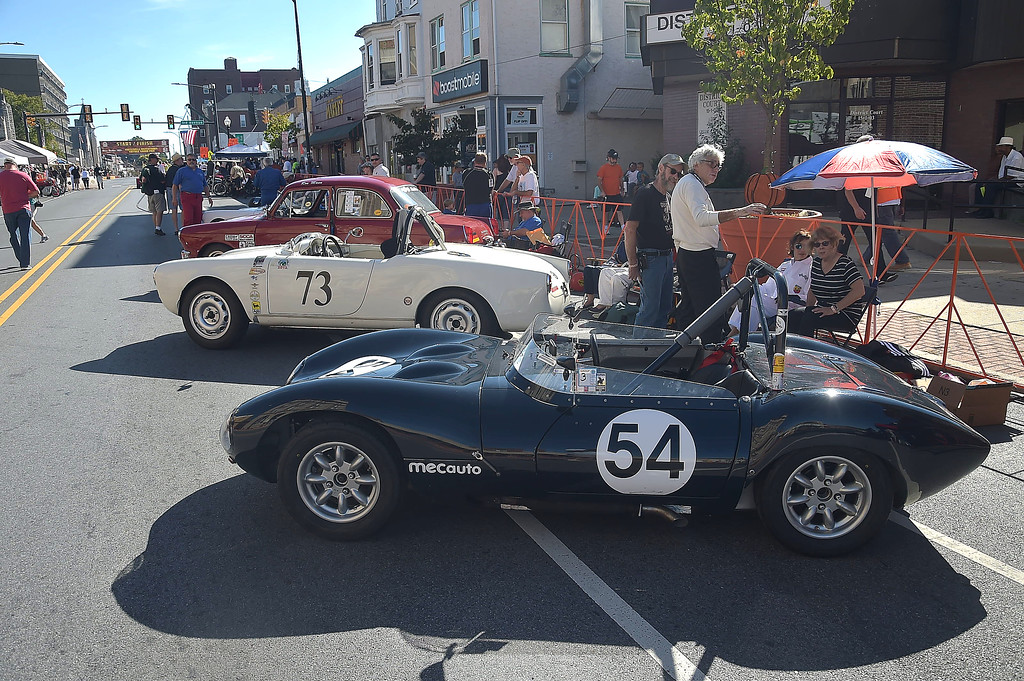 . PETE  BANNAN-DIGITAL FIRST MEDIA    Car lined Lincoln Highway in the pits during the second Annual Coatesville Invitational Vintage Grand Prix Saturday Sept.23, 2017. Over 50 cars took part in  the day long timed races.