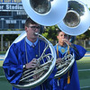 PETE BANNAN-DAILY LOCAL NEWS   Downingtown West seniors Tyler Grubb, Mike Renzulli, David Hogsett and Hannah Wenk play the school pep song at the end of commencement Thursday June 9, 2016 at Koffmeyer Stadium.
