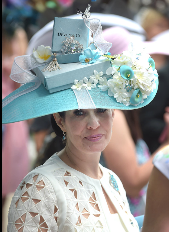 . PETE BANNAN - DIGITAL FIRST MEDIA         The themed category, Best Jewels of Devon and Best in Show was won by the appropriately named, Tiffany Arey of Collegeville with her Devon & Company Tiffany styled hat.  Her baby blue hat, matching both Devon�s color and a Tiffany box, included included; a �Dixon Oval� diamond broach and a �Gold Ring.� Visitors to Devon know those names as the competition rings at the horse show.
