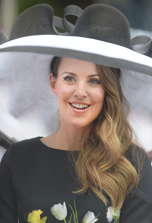 . PETE BANNAN - DIGITAL FIRST MEDIA       Allison Maxim of Wayne sports an Ella Grace hat at the Devon Horse Show and Country Fair hat contest.